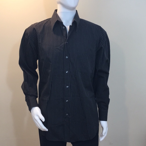 Mens Claiborne Black Gray Button Down Shirt Lg